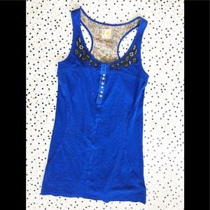 Free People Blue Lace Tank Top M